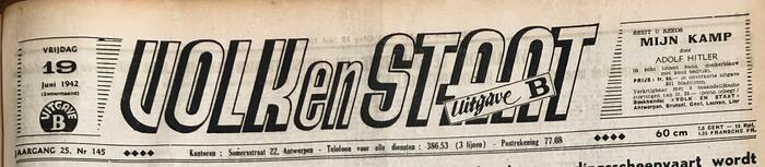 Journal de la VNV Volk en Staat, 19 juin 1942